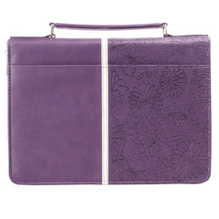 I Know the Plans Purple Floral Faux Leather Fashion Bible Cover - Jeremiah 29:11