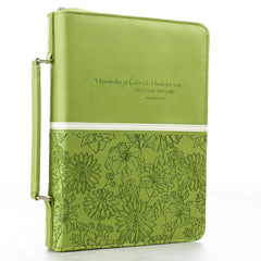Debossed Floral in Lime Jeremiah 29:11 Bible Cover