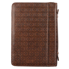 Trust In The Lord Brown Faux Leather Classic Bible Cover - Proverbs: 3:5