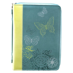 Butterflies in Lime and Teal 2 Corinthians 5:19 Bible Cover