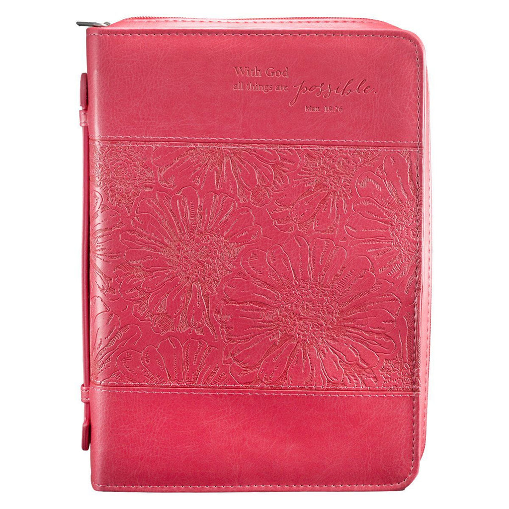 All Things Are Possible in Pink Matthew 19:26 Bible Cover