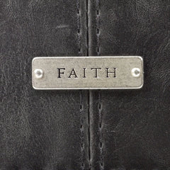 Faith Badge in Black Bible Cover