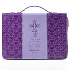 Eternal Life in two-tone purple  John 3:16 Bible Cover