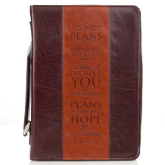 The Plans Two-tone Brown Classic Faux Leather Bible Cover -  Jeremiah 29:11