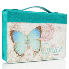 Grace Butterfly Blessings Teal Faux Leather Fashion Bible Cover - Ephesians 2:8