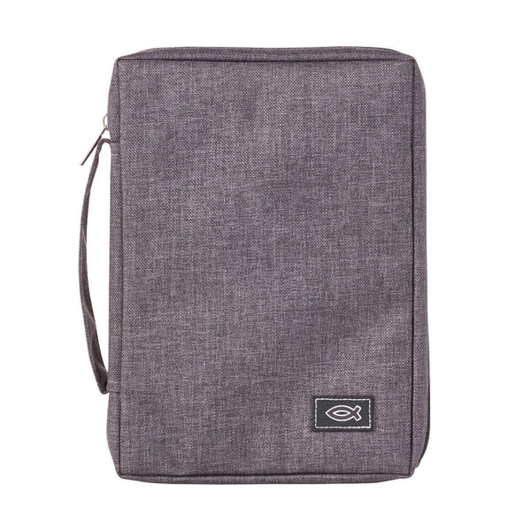 Poly-Canvas Bible Cover with Fish Applique in Gray