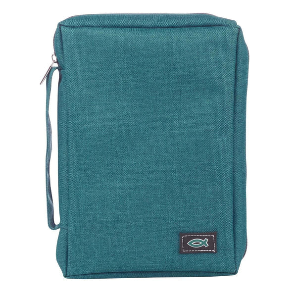Poly-Canvas Bible Cover with Fish Applique in Blue