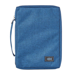 Blue Poly-Canvas Value Bible Cover with Fish Badge