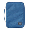 Blue Poly-canvas Bible Cover with Ichthus Fish Badge