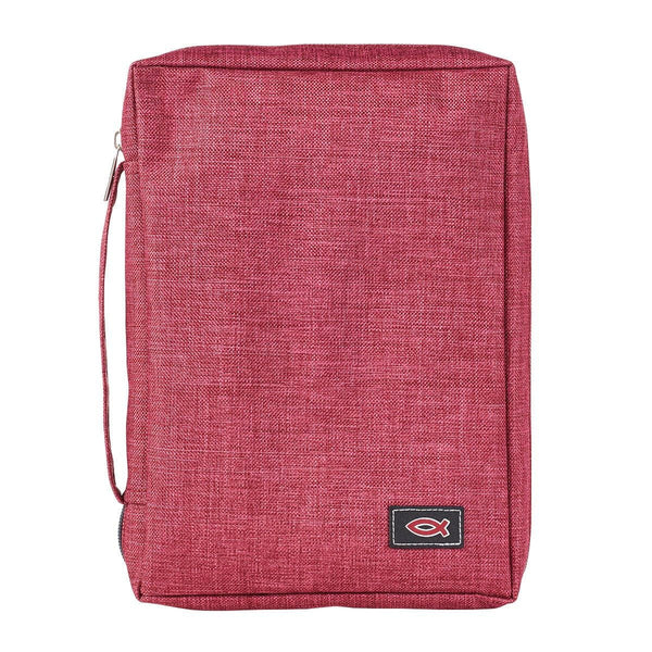 Poly-Canvas Bible Cover with Fish Applique in Burgundy