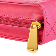 Cross Badge and Grace Zipper in Pink Bible Cover