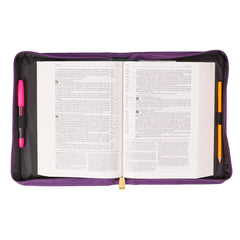 Cross Badge and Grace Zipper in Purple Bible Cover