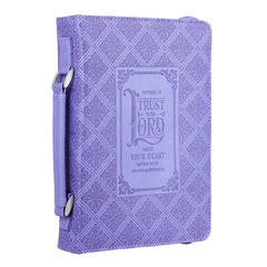 Trust in the Lord Purple Faux Leather Classic Bible Cover - Proverbs 3:5