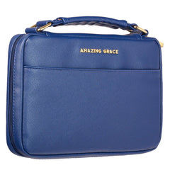 Amazing Grace Blue Faux Leather Fashion Bible Cover