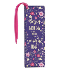 Grateful Heart Faux Leather Bookmark