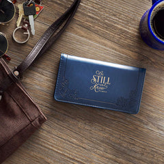 Be Still and Know Navy Faux Leather Checkbook Cover - Psalm 46:10