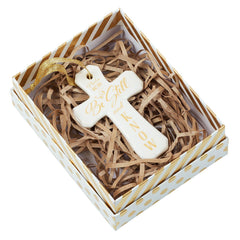 Christmas Ornament Porcelain Cross: Be Still - Psalm 46:10