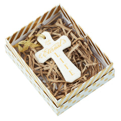 Christmas Ornament Porcelain Cross: Eternal Life - John 3:16