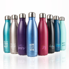 Be Still Purple Stainless Steel Water Bottle - Psalm 46:10