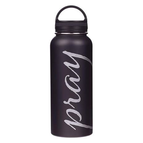 Pray Black Stainless Steel Water Bottle