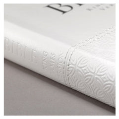 White Faux Leather Deluxe Gift Bible with Thumb Index - KJV