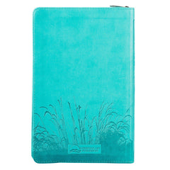 Turquoise Faux Leather Zippered Deluxe Gift Bible with Thumb Index - KJV