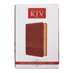 Brown Faux Leather Large Print Compact Bible - KJV