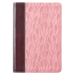KJV Bible Compact in Brown and Pink Leaf Design