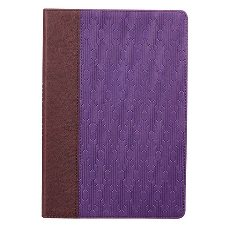 Brown and Purple Quarter-bound Faux Leather Large Print Thinline Bible  - KJV