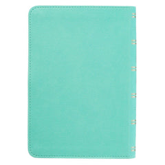 Turquoise Faux Leather Large Print Compact Bible - KJV