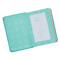 Tiffany Blue Faux Leather Large Print Compact King James Version Bible
