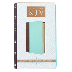 Brown and Turquoise Quarter-bound Faux Leather Giant Print Bible  - KJV