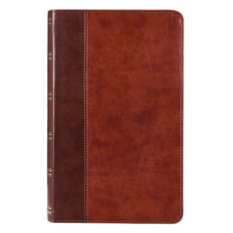 Brown Quarter-bound Faux Leather Giant Print Bible  - KJV
