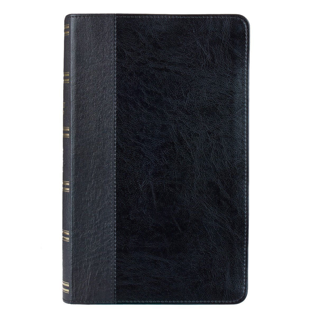Black Quarter-bound Faux Leather KJV Giant Print Bible  with Thumb Index
