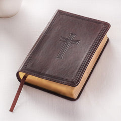 Dark Brown Faux Leather Large Print Compact King James Version Bible