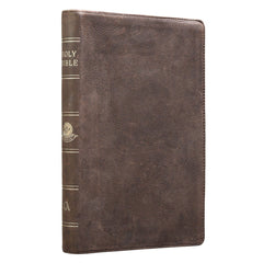 Dark Brown Premium Leather Large Print Thinline King James Version Bible with Thumb Index