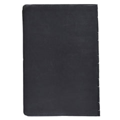 Black Premium Leather Large Print Thinline Bible with Thumb Index - KJV