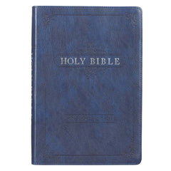 Blue Faux Leather Large Print Thinline KJV Bible with Thumb Index