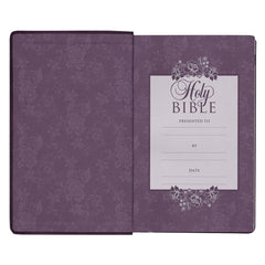 Purple Faux Leather Giant Print King James Version Bible with Thumb Index