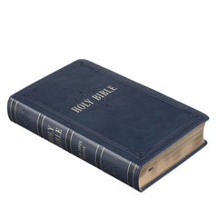 Dark Blue Faux Leather Giant Print King James Version Bible with Thumb Index