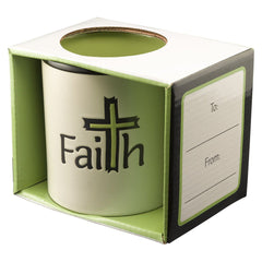 Faith on White with Green Interior 1 Thessalonians 1:3 Coffee Mug