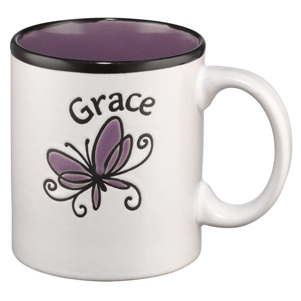 Coffee Mug: Grace on white With Purple Interior - 2 Corinthians 12:9