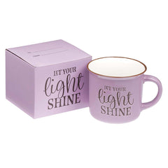 Let Your Light Shine Lavender Camp Style Coffee Mug - Matthew 5:16