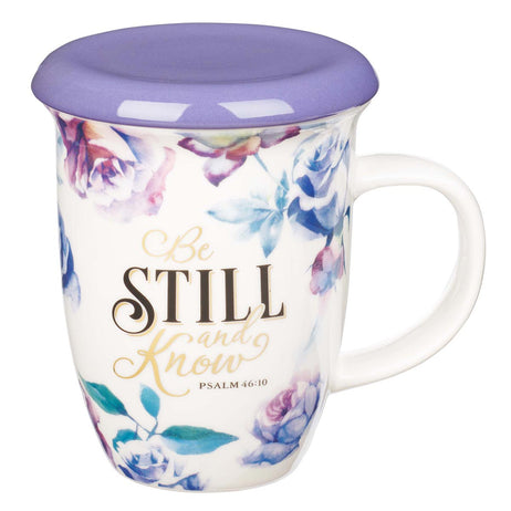 Be Still and Know Lidded Ceramic Mug in Purple - Psalm 46:10