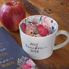 Best Teacher Ever Ceramic Mug in White with Floral Interior