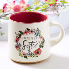 Sister Ceramic Coffee Mug with Clay Dipped Base - Ecclesiastes 4:9