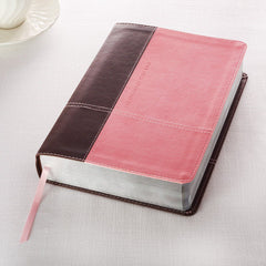 Study Bible in Pink and Brown Leather Like KJV Bible Life Application