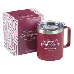 Be Strong & Courageous Very Berry Camp Style Stainless Steel Mug - Joshua 1:9