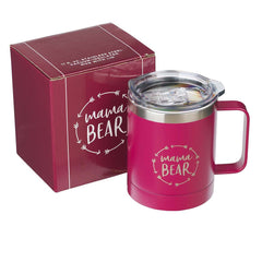Mamma Bear Berry-pink  Camp Style Stainless Steel Mug