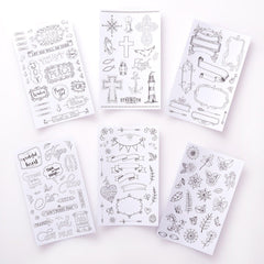 Line-art Coloring Stickers for Bible Journaling